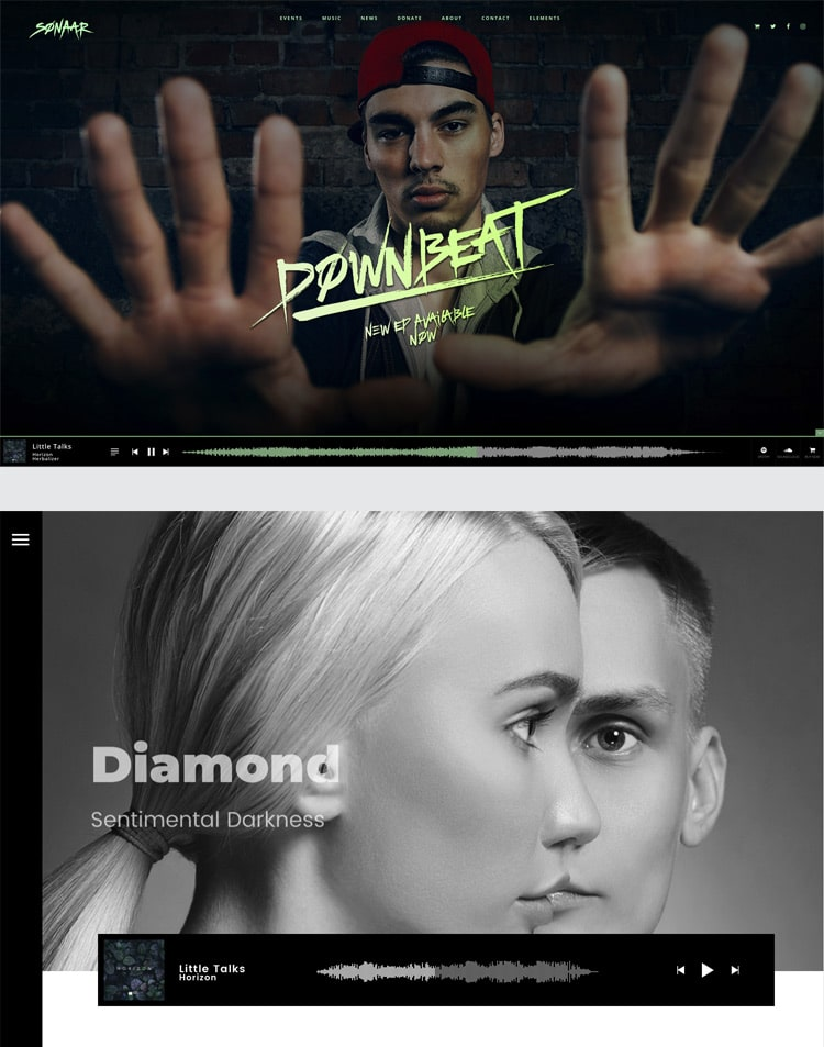 music wordpress themes for musicians music bands and podcast sonaar