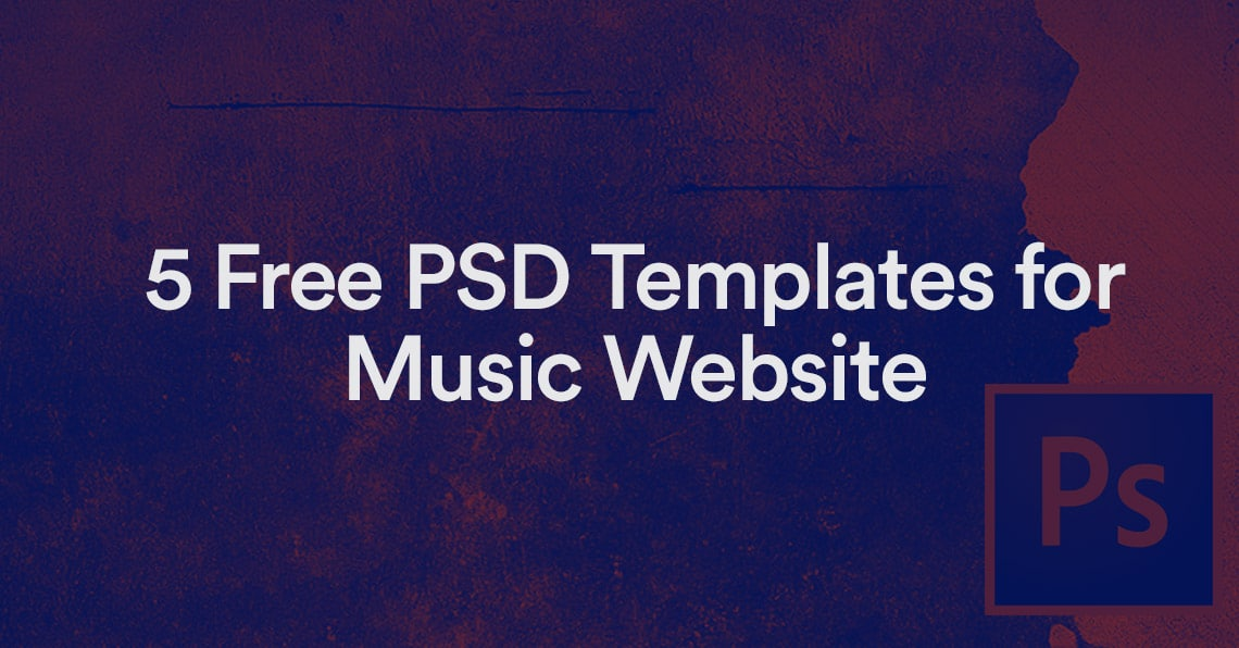 free photoshop music template for killer website