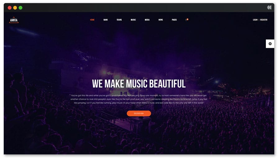Recording Studio WordPress Theme - Amita