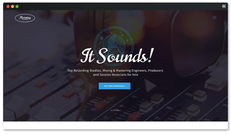 Recording Studio WordPress Theme - Morning Records