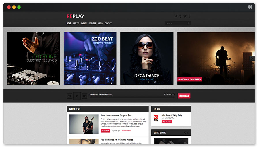 Recording Studio WordPress Theme - Replay