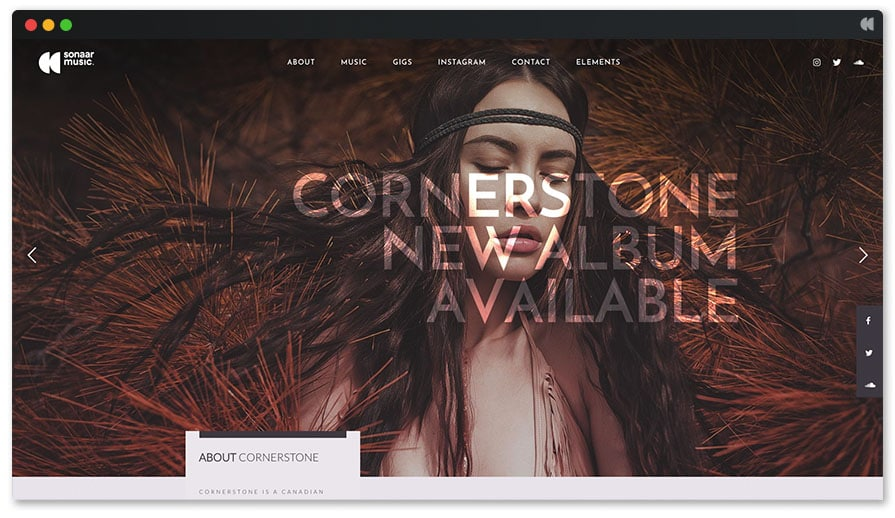 Cornerstone - Singer WordPress template