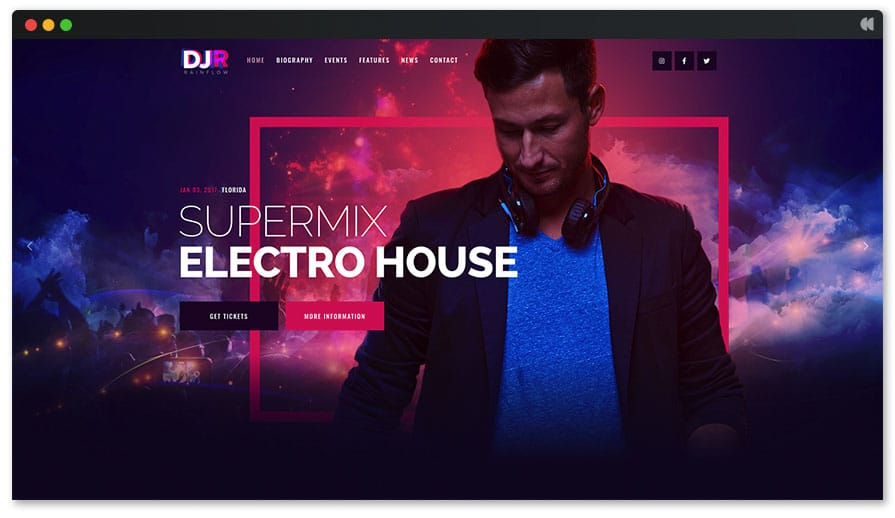 DJ Rainflow - Stunning DJ WordPress theme