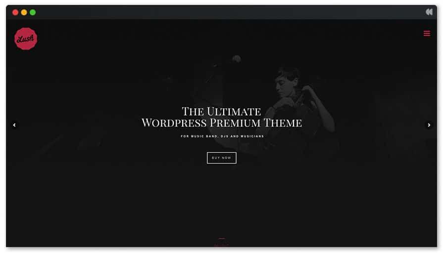 Lush website for singer