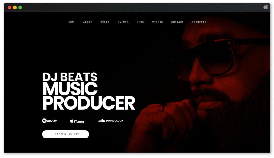 Hip-hop and music producer web builder