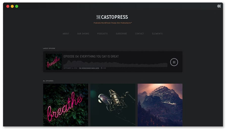 WordPress Podcast Theme - Castopress