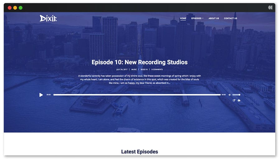 Dixie WordPress theme for Podcasting