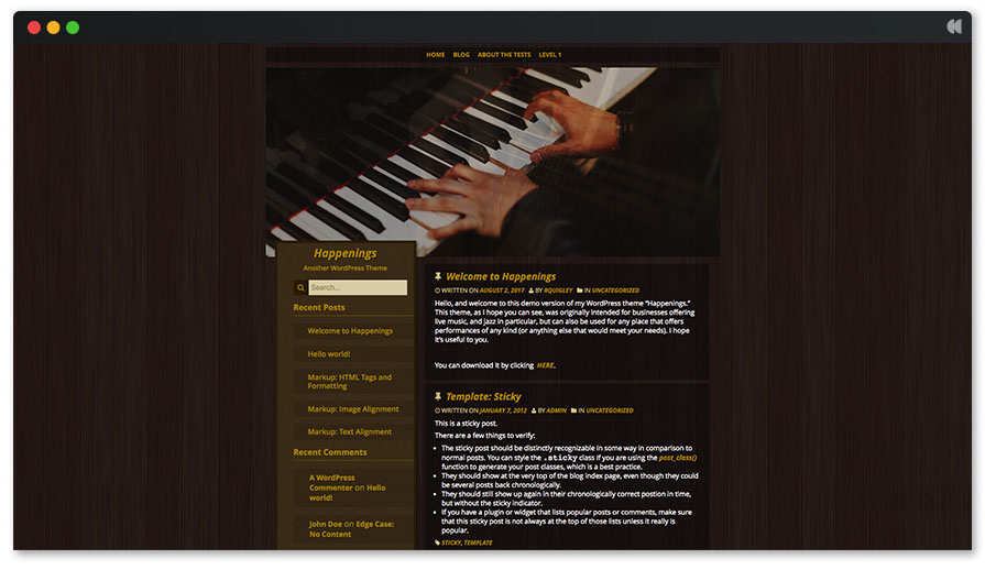 Free Musical WordPress Theme - Happening