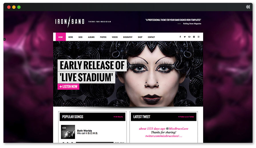 Ironband is a Rock and roll WordPress theme
