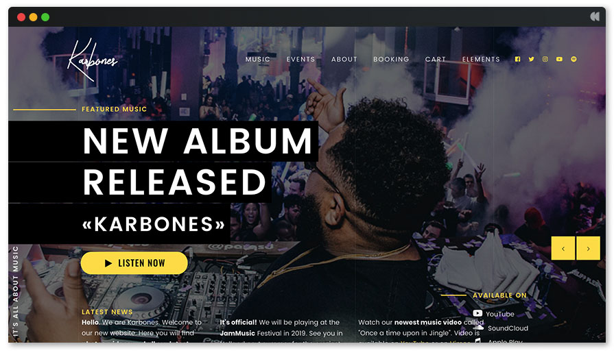 Karbones is a multi-purpose WordPress music theme