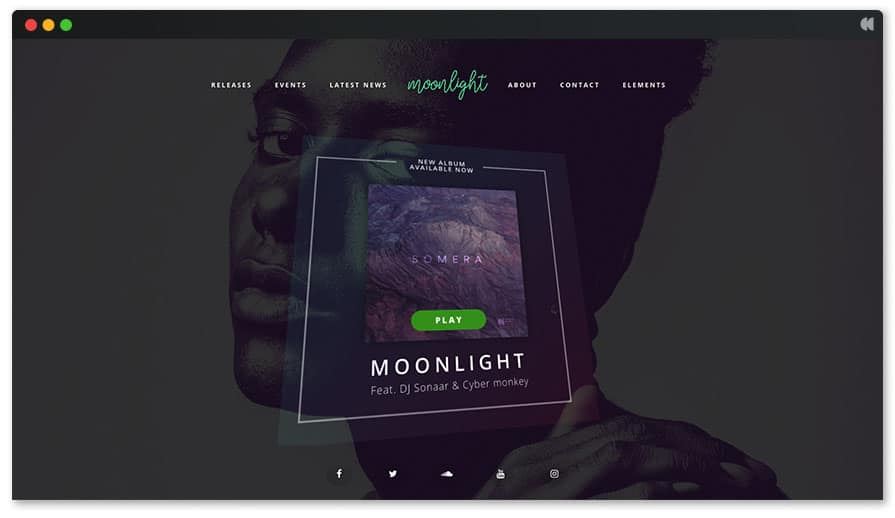 Moonlight's video background and 3d album cover Music WordPress theme