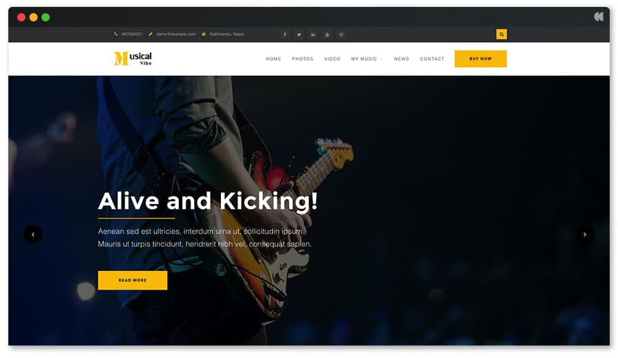 Musical Vibe Free WordPress Theme for Musician