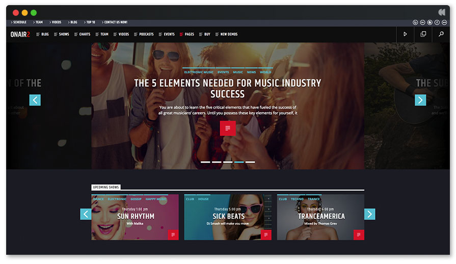 OnAir2 is a great podcast wordpress theme