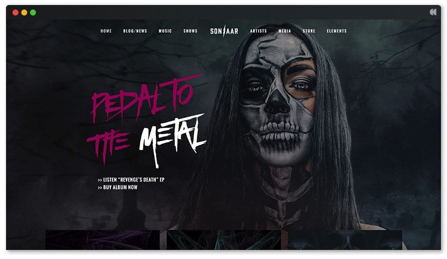 Skullz is the best heavy metal WordPress theme available yet