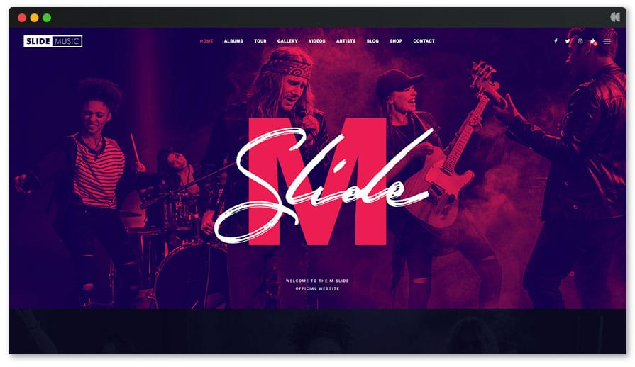 Slide is a fun and easy WordPress Music Theme