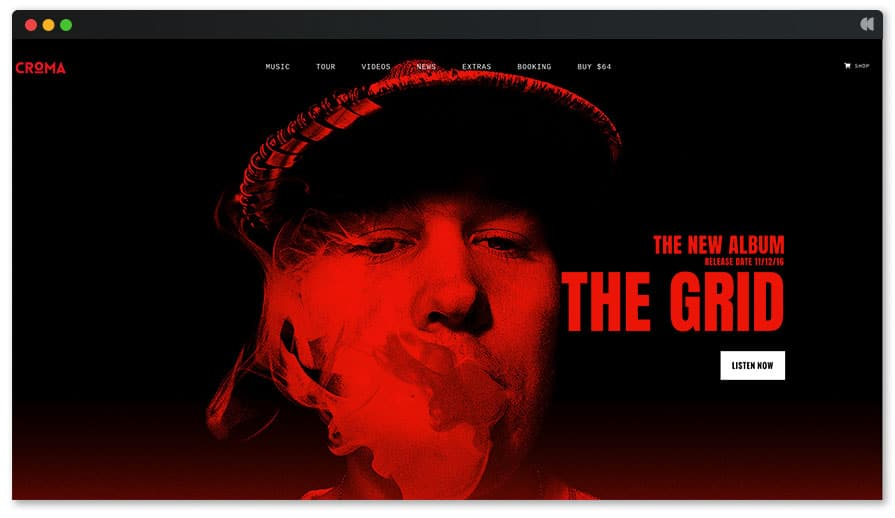 The Grid is a very nice wordpress theme for hip hop music producer and DJs