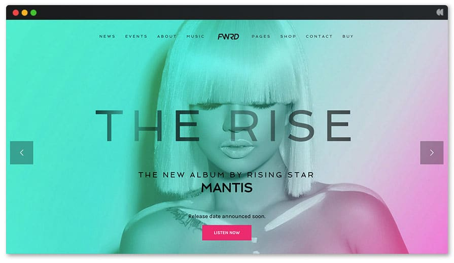The Rise is a powerful wordpress theme music page builder
