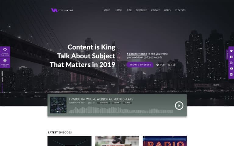 StreamKing-WordPress podcast Theme avec audio streaming