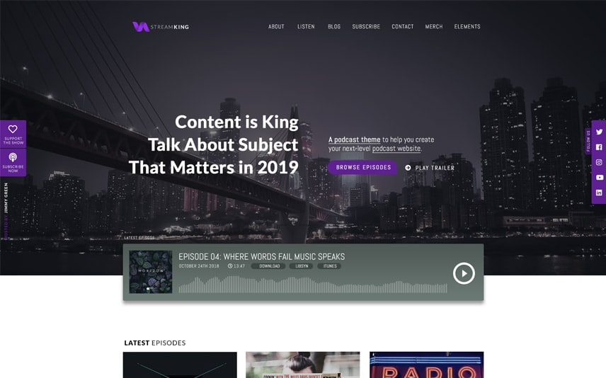 StreamKing - WordPress Podcast Theme with Audio Streaming