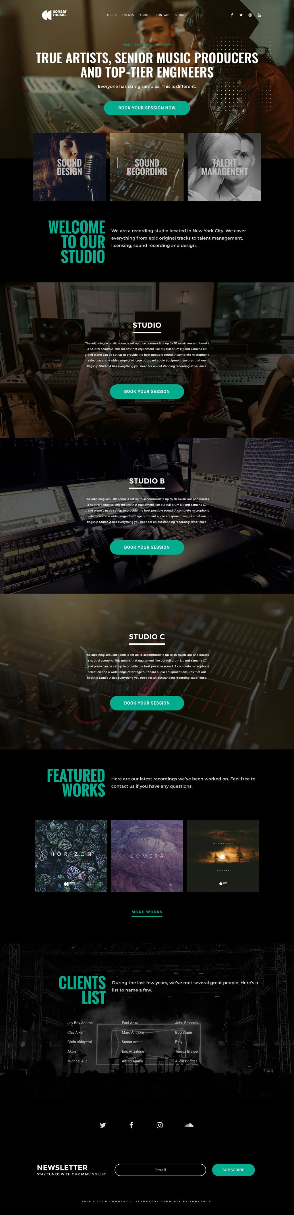 Elementor Templates Kit for Designers & Music Producers