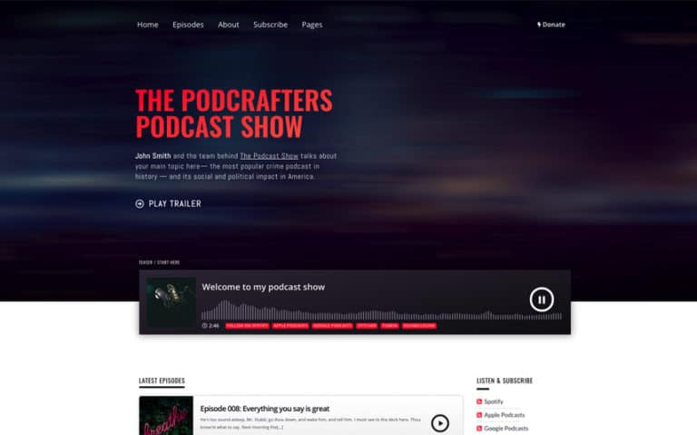 Podcrafter WordPress Theme for Podcasting with Ajax