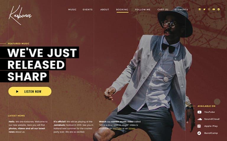 Full Width Slider WordPress Music Theme - Karbones