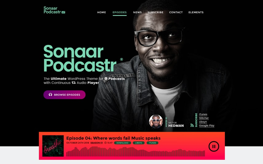Podcastr - Podcast WordPress Theme