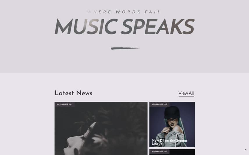 Responsive WordPress Template for Music